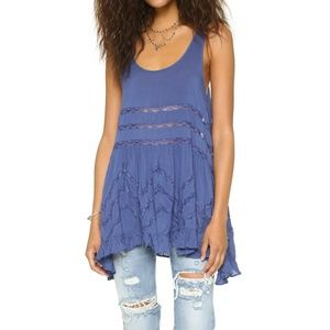 Free People Voile and Lace trapeze slip tunic blue